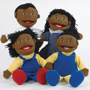 African American Family Puppet Set