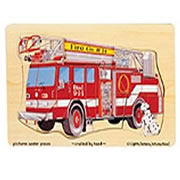 Wooden Fire Truck 9-piece Peg Puzzle