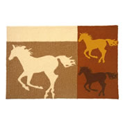 Jellybean Rug - Equine Collage - Washable