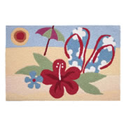 Jellybean Rug - Beach Hibiscus - Washable