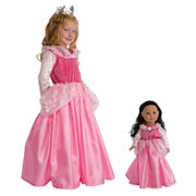 Sleeping Beauty Dress & Crown with Matching Doll Dress
