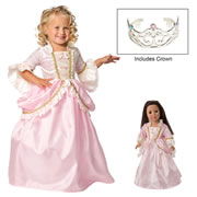 Pink Parisian Dress & Silver Crown with Matching Doll Dress