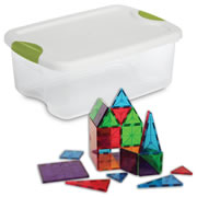 Magna-Tiles® Clear Colors 100 Piece & Storage Container