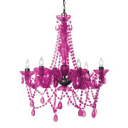 Three Cheers For Girls 6 Light Crystal Chandelier - Hot Pink