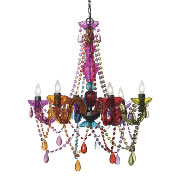 Three Cheers For Girls 6 Light Crystal Chandelier - Multi Colored