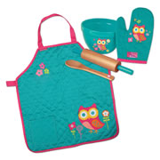 Stephen Joseph Quilted Apron & Cook Set - Owl