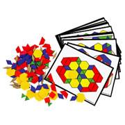 Plastic Pattern Blocks & Activity Cards Set