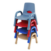 "Nature Color Chunky Stackable 7 1/2"" Chairs"