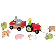 Pull-Along Farm Tractor with Animals
