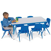 "Adjustable Rectangular Table - Blue (24"" x 48"")"