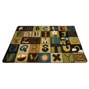 Nature Alphabet Blocks Carpet - 8' x 12' (Factory Second)