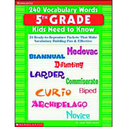 240 Vocabulary Words for 5th graders