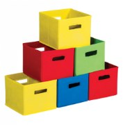 Fabric Bins: Set of 6 Multicolored