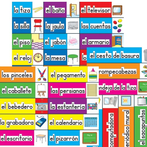 Classroom labels spanish by carson dellosa for Room labels