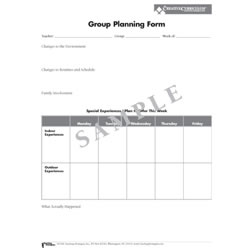 Group Planning Forms For Infants Toddlers & Twos