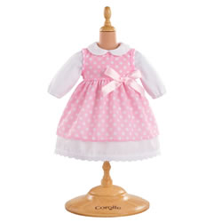"Doll Outfit 12"" Pink Polka Dot Dress"