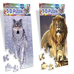 Snow Wolf & Lion 3-D Mini Jigsaw Puzzle Set