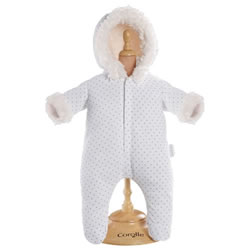"12"" Baby Doll Outfit - White Snowsuit"
