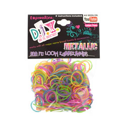Shimmery Metallic Loom Rubber Bands with Clasps