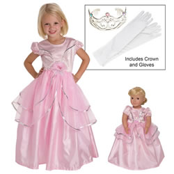 Royal Pink Dress & Accessories with Matching Doll Dress