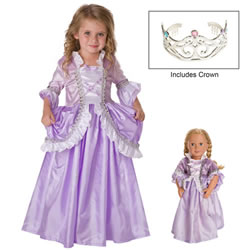 Royal Rapunzel Dress & Silver Crown with Matching Doll Dress