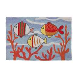 Jellybean Rug - Fish School in Coral - Washable
