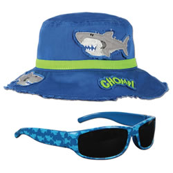 Young Child's Shark Bucket Hat & Sunglasses
