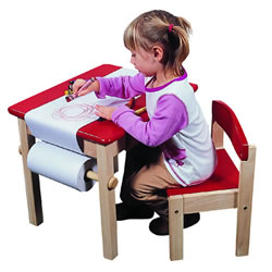 Guidecraft Art Table-and-Chair Set- Red
