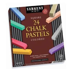 Square Chalk Pastels - 24 Colors