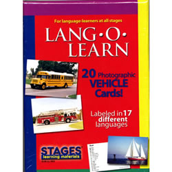 Lang-O-Learn Multilingual Photo Cards: 20 Card Vehicles Set
