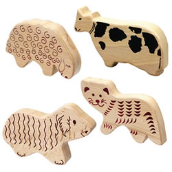 Wooden Animal Shakers (Set of 4)