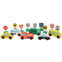 Wooden Vehicles and Traffic Signs (Set of 15)