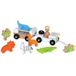 Pull-Along Jeep with Safari Animals