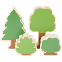 Nature's Accents: Trees and Bushes for Block Play (Set of 12)
