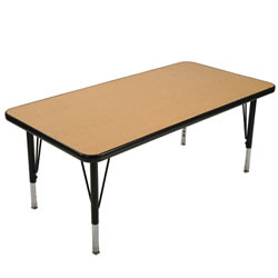 "Golden Oak Adjustable Rectangular Table (24"" x 36"")"