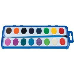 16 Color Washable Watercolor Paint Trays (12 Trays)