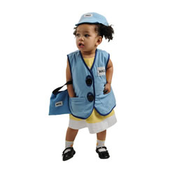 Mail Carrier Vest, Hat, and Bag