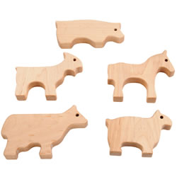 Wooden Farm Animal Shapes (Set of 5)