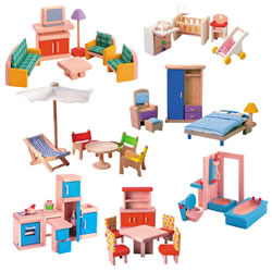 Wooden Doll House Furniture Group