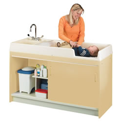 Changing Table with Left Hand Sink - Natural