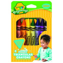 Crayola® 8-Pack Washable Triangular Crayons (Single Box)