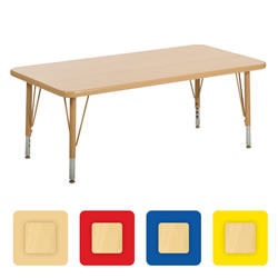 "Nature Color 24x48 Rectangle Table 21-30"" Adjustable Legs"