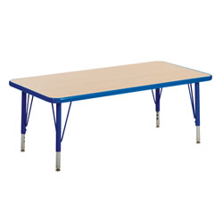 "Nature Color 30x60 Rectangle Table 15-24"" Adjustable Legs - Blue"