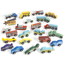 Deluxe Wooden Car Set (Set of 24)