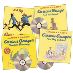 Curious George Book and CD Set (Set of 4)
