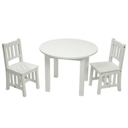 White Round Mission Table with 2 Chairs