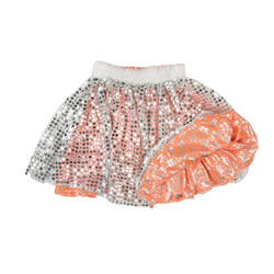 Fancy Dance Reversible Skirt (Peach Satin & Silver Dots)
