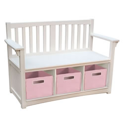 Classic White Storage Bench with Bins