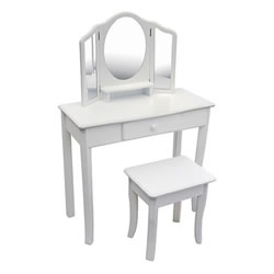 Classic White Vanity and Stool
