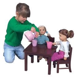 Espresso Doll Table And Chair Set